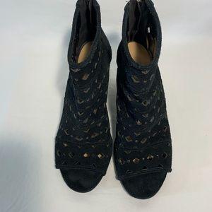 Michael Kors | black suede open toe wedge